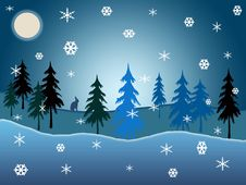 Free Blue Winter Woodland Royalty Free Stock Photo - 17644485