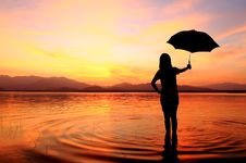 Free Silhouette Of Young Woman Against Summer Sunset Royalty Free Stock Photography - 17644957