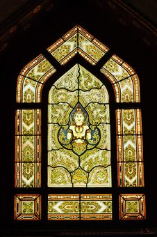 Free Stained Glass Window Of Angel, Wat Benjamobopith Royalty Free Stock Photo - 17648715