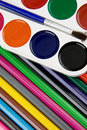 Free Painters Palette And Brush On Pencils Stock Images - 17655224