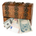 Free Old Wooden Little Chest And Money Stock Photo - 17658880
