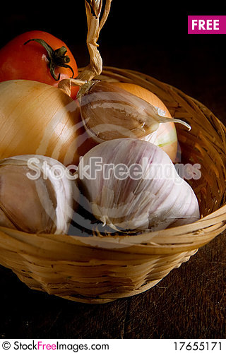 Free Set Of Nutrition Food In Basket Stock Image - 17655171