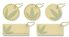 Free Labels Made Of Natural Fabric With Embroidery. Royalty Free Stock Photo - 17650125