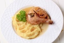Free Roasted Chicken And Mashed Potato Royalty Free Stock Photos - 17651218