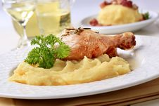 Roasted Chicken And Mashed Potato Stock Photography