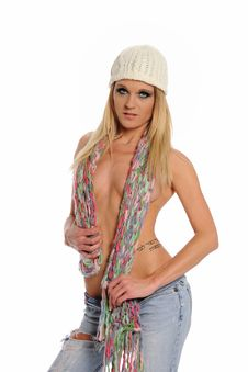 Young Blond Woman Wearing A Hat And Jeans Stock Photography
