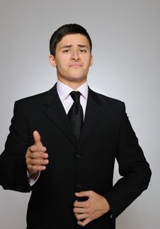 Free Young Serious Business Man In Black Suit Royalty Free Stock Photography - 17653907