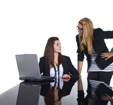 Free Teenage Business Girls Working On Black Table Stock Image - 17654021