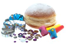 Free Jelly Doughnut With Party Decoration Royalty Free Stock Photography - 17654687