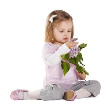 Free Little Girl With Liac Flower Royalty Free Stock Photography - 17655177