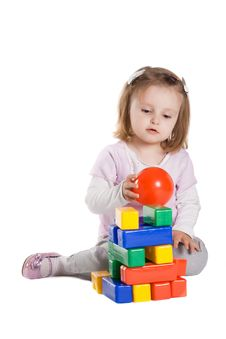 Free Little Girl Playing With Cubes Stock Photo - 17655230