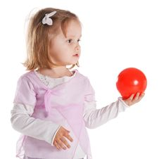 Free Little Girl Giving Red Ball Stock Photos - 17655253