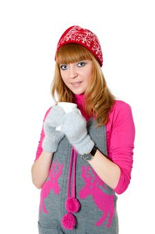 Free Christmas Girl With Cap Isolated On White Royalty Free Stock Photo - 17655415