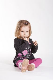 Free Little Girl With Lipstick Stock Images - 17655464