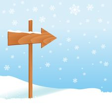 Free Winter Design With Direction Sign Stock Photography - 17655502