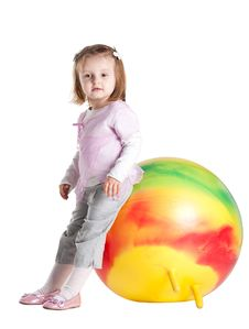 Free Little Girl Sitting On Fitball Stock Images - 17655574