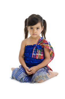 Free Little Girl In Traditional Thai Clothes Stock Photography - 17656062