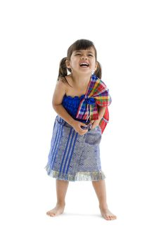 Free Little Girl In Traditional Thai Laughing Royalty Free Stock Images - 17656099