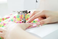Free Fabric In A Sewing Machine Royalty Free Stock Photography - 17656797