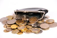 Free Purse With Coins Royalty Free Stock Photos - 17657348
