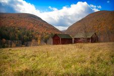 Barns In The Meadows Of The Catskill Mountains Stock Images