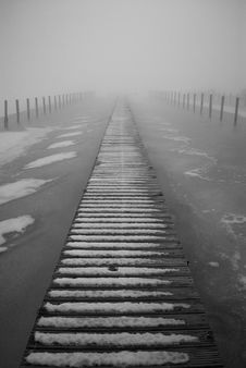 Gangway In Fog Royalty Free Stock Photo