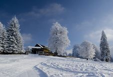 Free Beautiful Winter Landscape With Chalet Stock Images - 17658744