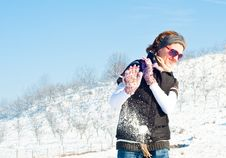Free Young Woman In A Snow Fight Royalty Free Stock Images - 17658809