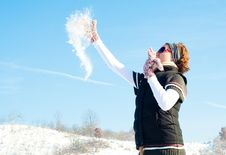 Free Young Woman In A Snow Fight Stock Images - 17658844