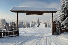 Free Beautiful Nature Park Entrance In Winter Stock Photos - 17658883