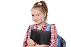 Young Woman With A Folder And A Backpack; Royalty Free Stock Photography