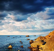 Free Summer Landscape With The Sea And The Cloudy Sky. Stock Image - 17659791