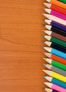 Free Colorful Pencils On Wood Royalty Free Stock Photos - 17662188