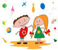 Free Happy Kids Playing Vector Stock Photography - 17665562