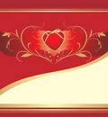 Free Red Heart With Floral Ornament. Valentines Card Royalty Free Stock Photos - 17668758