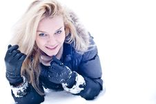 Free Cute Young Blonde On Snowdrift Stock Photography - 17660272