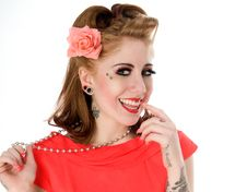Free Pinup Model In Coral Dress Stock Photo - 17660960