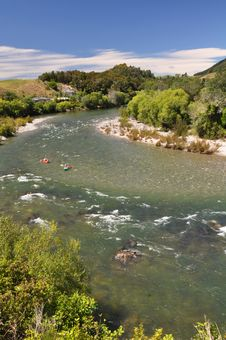 Kayaks On The Motueka River, New Zealand Royalty Free Stock Image