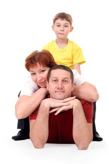 Family Of Three On The Floor Royalty Free Stock Image