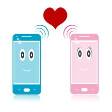 Free Male And Female Mobile Icons With Heart Royalty Free Stock Image - 17665556