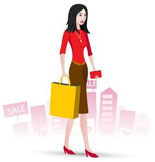 Free Woman Who Made Purchases Royalty Free Stock Photography - 17665587