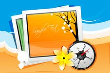Free Autumn Card With Compass Royalty Free Stock Photography - 17665697