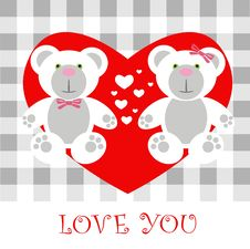 Free Love Card Teddy Royalty Free Stock Image - 17666036