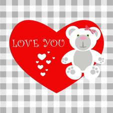 Free Love Card Teddy Stock Image - 17666061