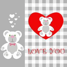 Free Love Card Teddy Royalty Free Stock Images - 17666069