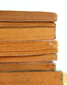 Edged Of Stack Old Books In Isolated Stock Photos