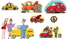 Free Hand Drawn Illustrations About Different Vehicles Stock Image - 17667161