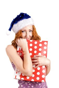 Red Girl With Present Bag Stock Photography