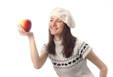 Free Happy Young Woman Looking At Juicy Red Apple Stock Photography - 17667882