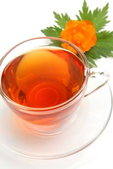 Free Cup With Tea And A Flower Royalty Free Stock Photo - 17668425